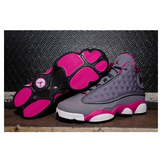 Air Jordan 13 Retro GS Cool Grey/Atomic Pink ? liked on Polyvore