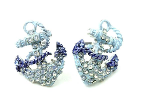 Boat Anchor Crystal Earrings Turquoise Nautical  Blue Pave Dainty Drop   #DropDangle