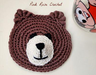PINK ROSE CROCHET: Ursinho Marrom Teddy Bear Face