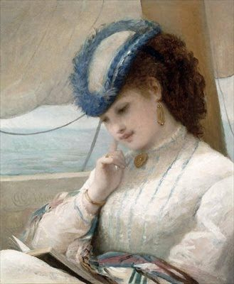 A Girl Reading on a Sailing Boat - Alfred Chantrey Corbould