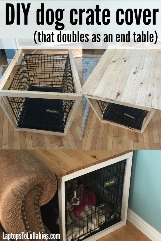 Diy Dog Crate Cover That Doubles As An End Table