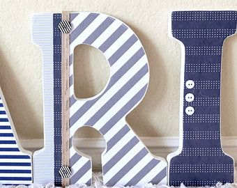 Nautical Baby Boy Name Wooden Wall Letters by TheRuggedPearl
