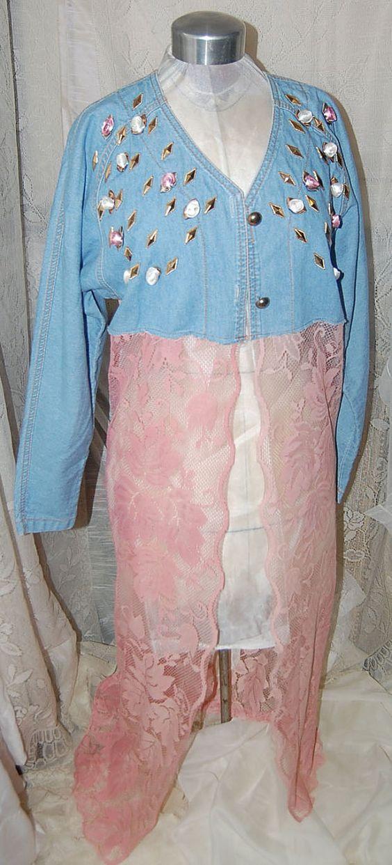 Jean Long Lace Embellished JacketBoho Gypsy by Ramblinrose67, $45.00