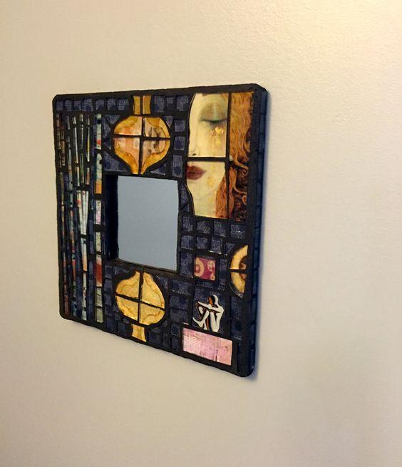 Mixed media mosaic, mosaic mirror, small mirror, wall art, mosaic wall art, collage and mosaic mirror, dark blue mirror by JayKayBeecreations on Etsy