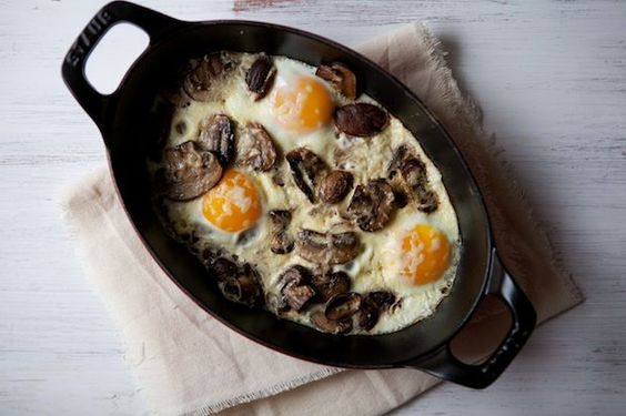 Baked Eggs with Mushrooms and Gruyere Recipe: http://food52.com/blog/8794-baked-eggs-with-mushrooms-and-gruyere. #Food52: Baked Eggs, Breakfast For Dinner, Gruyere Cheese, Foodstuff, Breakfast Food, Breakfast Recipe, Breakfast Brunch