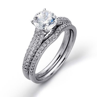 Shimmer Collection - This gorgeous 18K white engagement ring and band is comprised of .44ctw round white Diamonds. - NR438