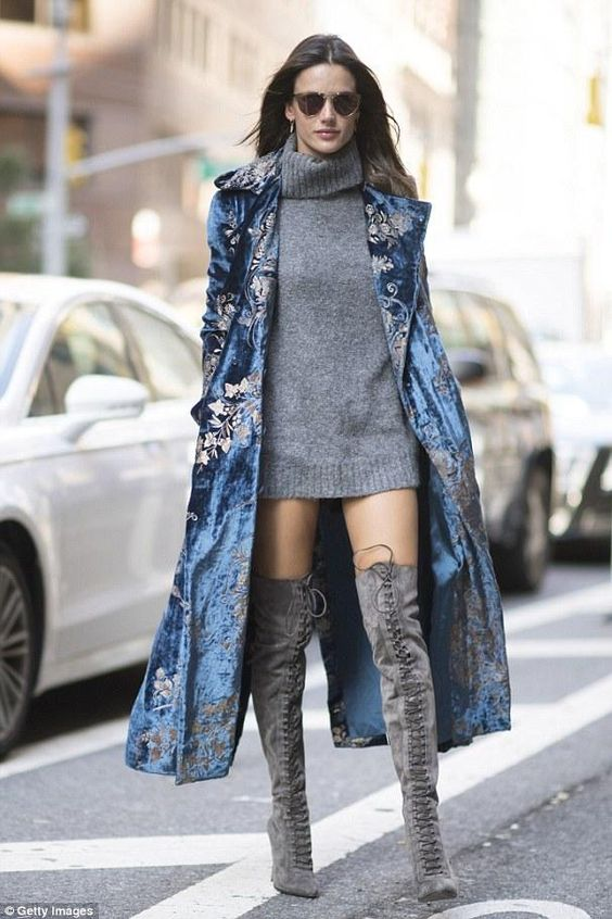 Alessandra Ambrosio wearing Ralph Lauren Collection Radford Velvet Coat and Le Silla Gossip Lace Up Boots