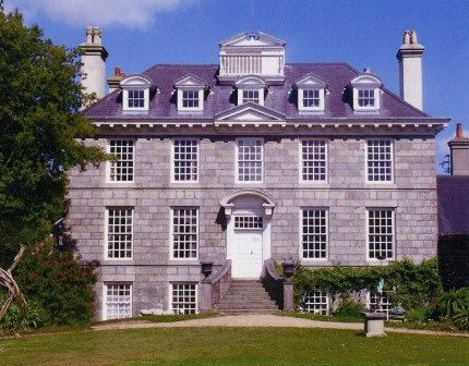 Sausmarez Manor, Guernsey, Channel Islands - Parts of which date to the early 13th or late 12th centuries, has been altered, reduced & added to over the years with major changes in Tudor, Queen Anne, Regency & Victorian times. The most impressive part is the front, regarded as the finest example of Queen Anne Colonial architecture in Britain, which was built between 1714 & 1718 at the bequest of Sir Edmund Andros, the 1st Governor of New York.