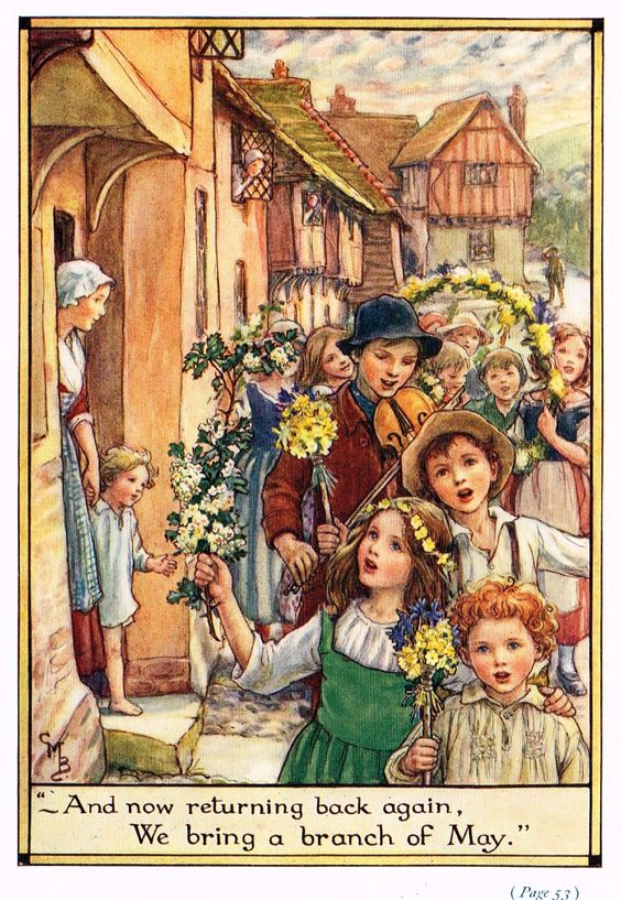 """Cicely Mary Barker Print - """"""""WE BRING A BRANCH OF MAY"""""""" - Offset Lithograph - c1930:"""