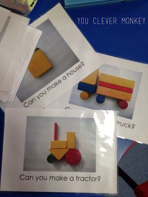 Challenge cards for block play. I remember having these types of blocks with just the outline of the finished shape, and having to figure it out. Loved it!