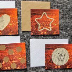 Retrouvons le plaisir d'écrire! variation de 4 cartes postales recyclées + enveloppes.
