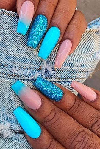 Lovely Light Blue And Pink Coffin Nails With Glitter Blue Glitter Nails Nails Design With Rhinestones Nail Designs
