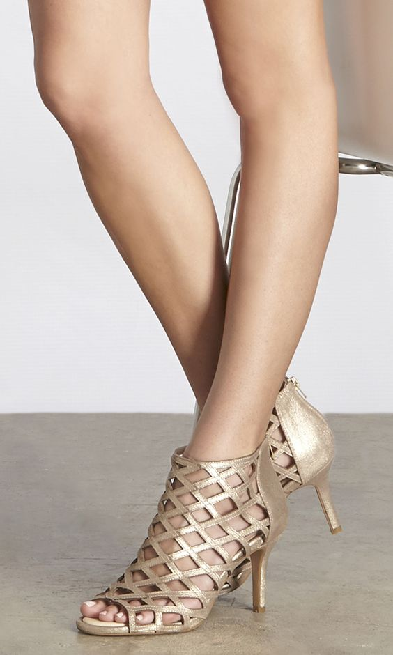 Sole Society Portia | These luxurious caged heels in gold metallic ...