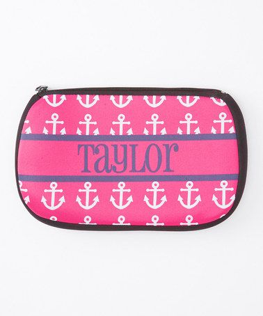 Another great find on #zulily! Pink Anchor Personalized Cosmetic Bag #zulilyfinds