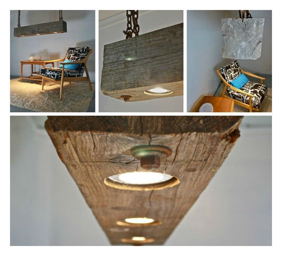 we just found this amazing light fixture made from reclaimed wood beam with a beautiful weathered amazing light wood