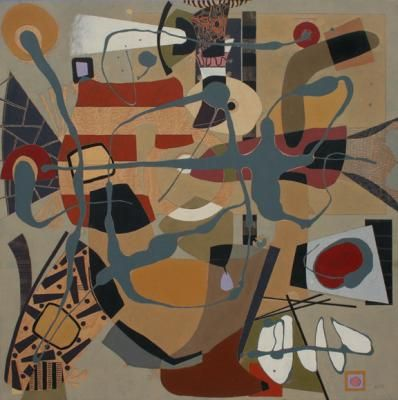 """Art by Kimo Minton -- Sloe Glass and Saxes; 2014-15; oil and acrylic on birch panel; 60""""x60"""" [KM638]"""