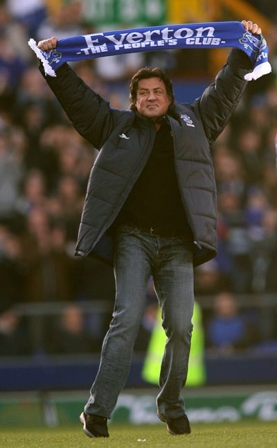Sylvester Stallone raising his Everton scarf to the Goodison faithful. www.theevertonforum.com