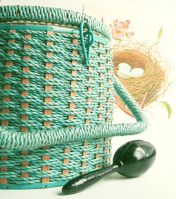 Vintage Aqua Sewing Basket with Darning Egg by MagiaMia on Etsy, $12.50