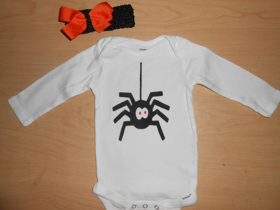 Halloween Baby Bodysuit with Cute Orange and Black Headband, by TreasuresShop on…