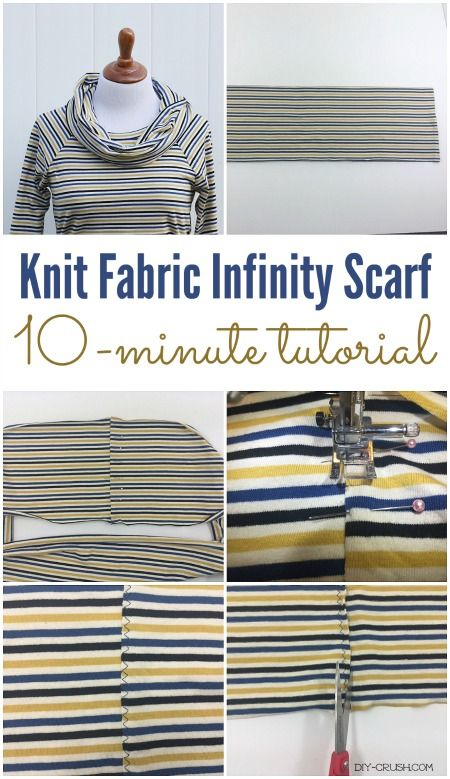 Knit Fabric Infinity Scarf Tutorial that takes you only 10 minutes to make | DIY Crush