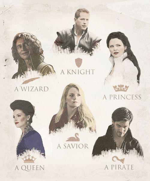 Charming, Rumple, Snow, Regina, Emma, and Hook