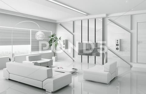 Modern White Living Room Interior 3d Clip Art 24793463 With
