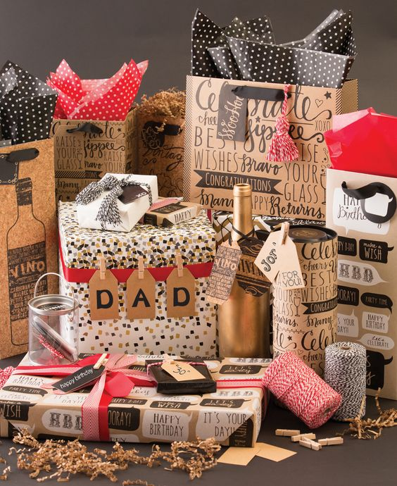 Got #Dads, #Grads and #SummerBirthdays to celebrate? Look no more! This black, white and kraft assortment from #TheGiftWrapCompany will bring the fun to any celebration. Be sure to add a pop of color with tissue, ribbon and twine for an extra punch! (Sponsored)