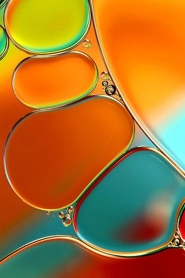 oil and water abstract in orange