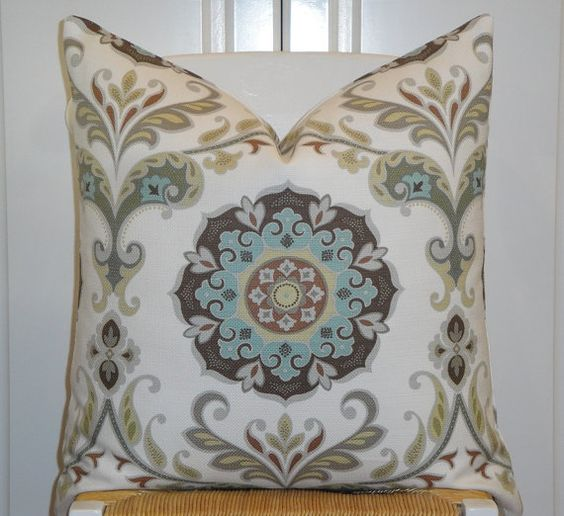 Pale Yellow Throw Pillow Cover : Suzani Decorative Pillow Cover - Aqua Blue - Grey - Brown - Pale Yellow- Floral Medallion It ...