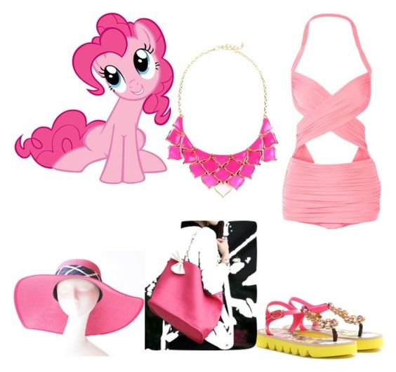 """Pinkie pie beach look"" by disneylover9822 ❤ liked on Polyvore featuring Dolce&Gabbana, Norma Kamali, yeswalker, George J. Love and My Little Pony"