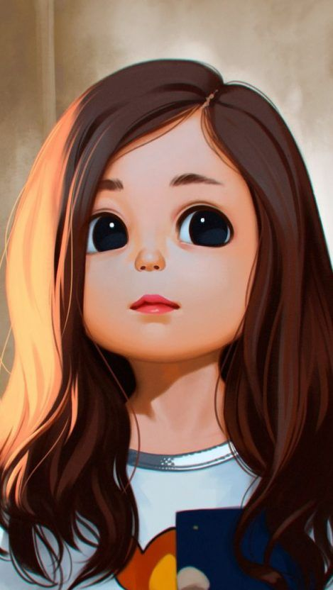 Cute Little Girl Iphone Wallpaper Iphone Wallpapers Girl Cartoon Characters Girl Face Drawing Cute Art