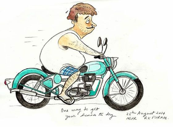Biker dude - Priya Kuriyan sketches an Ode to Awesome Delhi - Pixelonomics