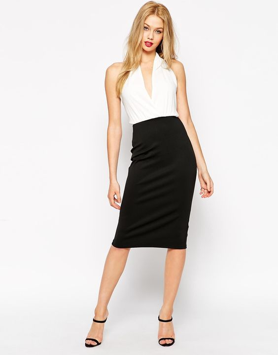 ASOS Halter Drape Front Pencil Dress