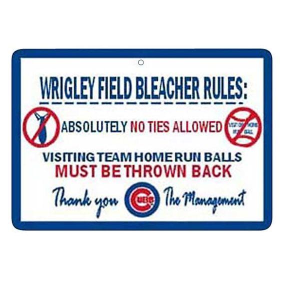 Wrigley Field Bleacher Rules Sign