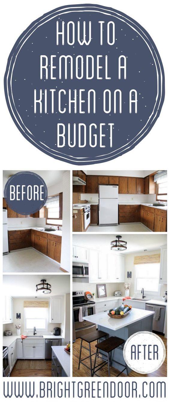 Remodel a Kitchen on a Budget Kitchen Remodel on a Budget, Affordable Kitchen Renovation, Modern Tuxedo Kitchen, Two Tone Kitchen www.BrightGreenDoor.com