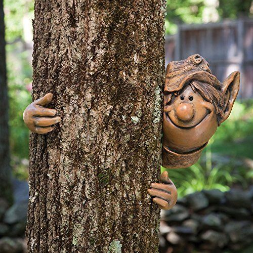 Garden Peeker Face Elf Tree Hugger Outdoor Yard Art Lawn