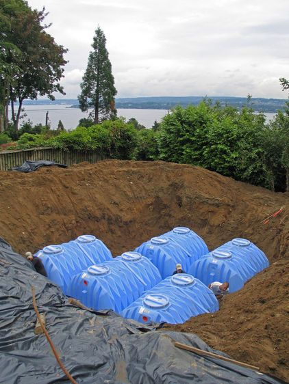 Not everybody who wants rainwater harvesting wants above-grade cisterns. These below-grade cisterns will be capped by a lawn.: