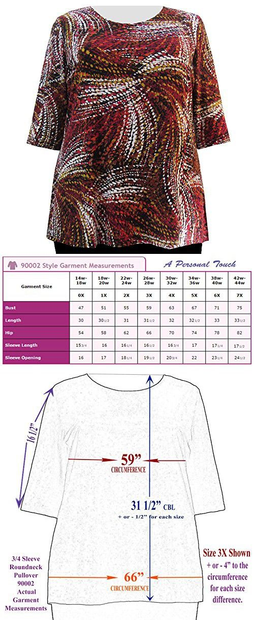 A Personal Touch Red Raindrops 3//4 Sleeve Womens Plus Size Blouse