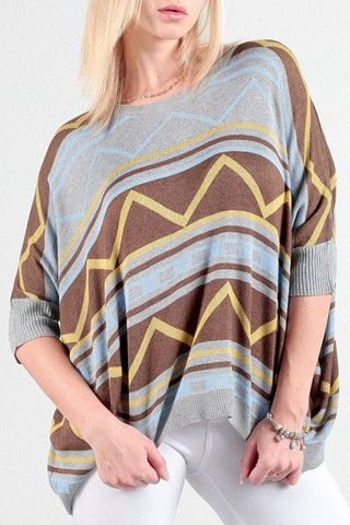 Aztec Printed Poncho The perfect fall sweater for the girl who isn't quite ready to give up on sunshine.