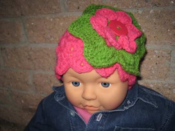 Hat CORAL AND GREEN  Crochet for Babies Head Size 15 by ElsaLAbbe