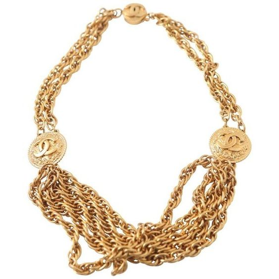 Preowned Chanel Gold Choker W/ 'cc' Detail ($2,495) ❤ liked on Polyvore featuring jewelry, necklaces, multiple, multi-chain necklace, chanel, chanel jewelry, chanel necklace and choker necklace