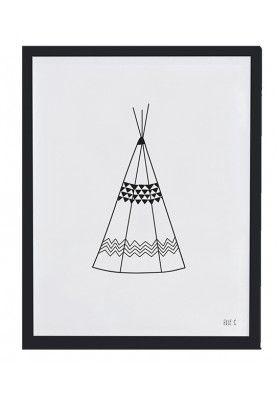 affiche encadr e enfant teepee noir et blanc affiches encadr es pinterest. Black Bedroom Furniture Sets. Home Design Ideas