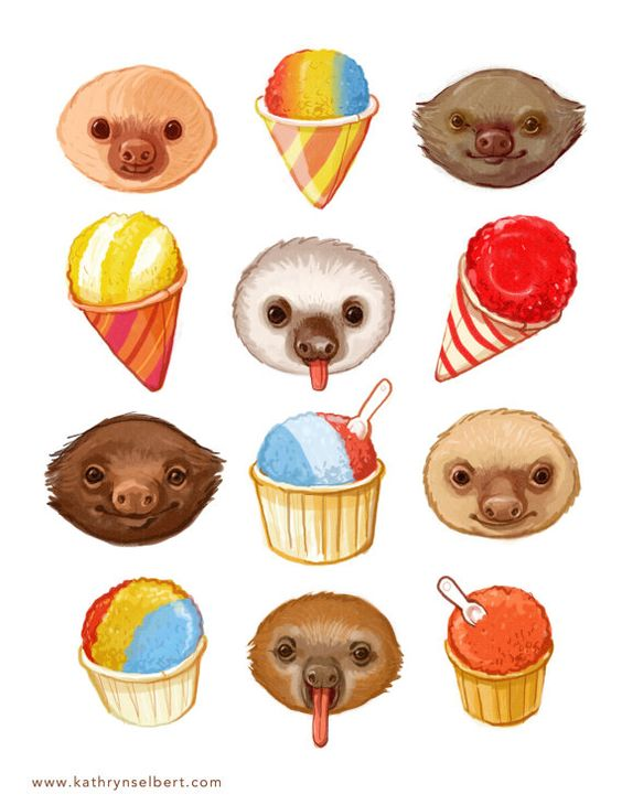 Fine Art Print  Sloths and Snow cones by kathrynselbert on Etsy  -- i need to hang this up somewhere.