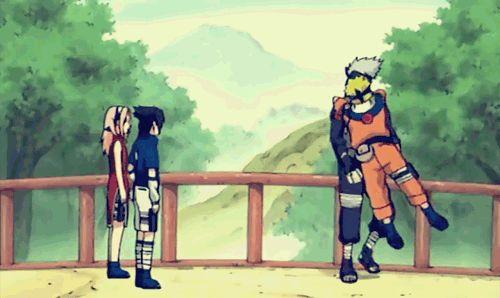 <3 Kakashi, Sasuke, Sakura & Naruto (Team Kakashi / Team 7) If I ever met Kakashi, Naruto would be me (I'd hug the rest like this too, but yeah)