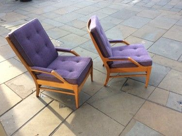 Restored and reupholstered 1960 39 s armchairs cool old for Cool armchairs