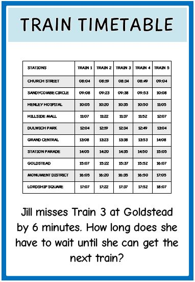 Number Names Worksheets » Printable Timetable Worksheets - Free ...