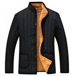 جاكيت رجالي شتوي لون أسود وتصميم من القطن الدافئ بياقة عالية Jackets Men Fashion Mens Pants Fashion Mens Winter Fashion