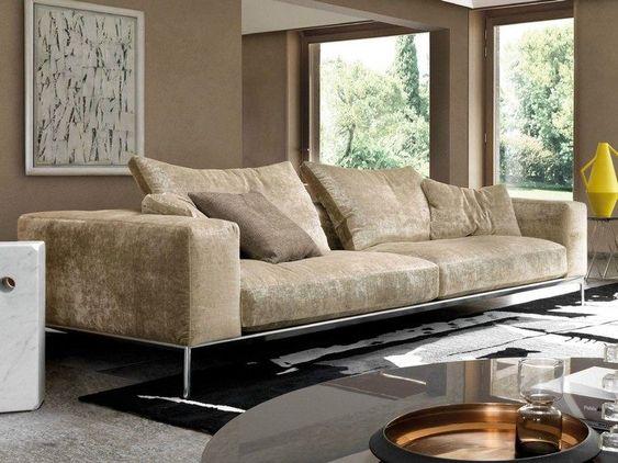 meuble salon design et canap savoye en velours beige et mtal chrom par dsire - Meuble Salon Moderne