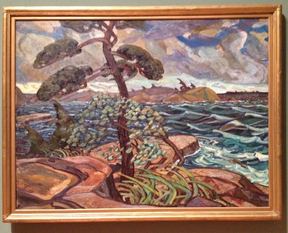 """""""A September Gale, Georgian Bay"""" by Arthur Lismer. A breathtaking masterpiece of an autumn landscape with its choppy waves and threatening sky contrasted with the trees and shrubs upon the rocky shore."""