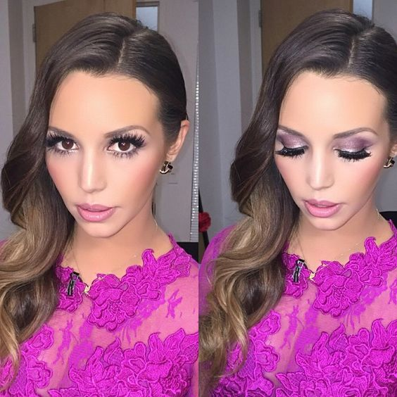 Love @scheanamarie makeup. Purple and fuschia themed.